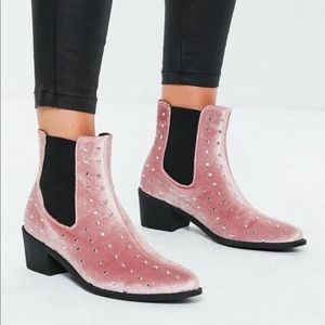 Shoes - Pink velvet western boots with studs size 9